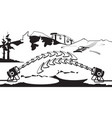 snow generators working on ski slope vector image