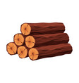stack of firewood materials for lumber industry vector image