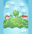 surreal landscape with river and paper boat vector image