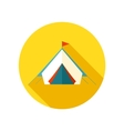 Tent flat icon with long shadow vector image