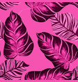 tropical leaves realistic seamless pattern vector image