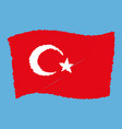 turkey national flag - al bayrak - flying grunge vector image vector image