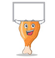 up board fried chicken character cartoon vector image