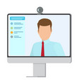 working computer with small web camera poster vector image