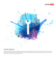 wrench icon - watercolor background vector image