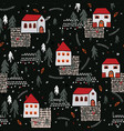 xmas village church house pattern black red color vector image vector image