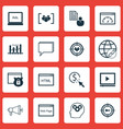 set of 16 advertising icons includes security vector image