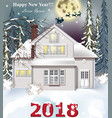 2018 card white house winter snowy background vector image vector image