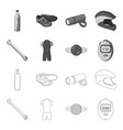 a wrench a bicyclist bone a reflector a timer vector image vector image