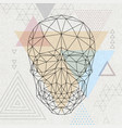 abstract polygonal tirangle human skull vector image