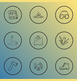 activity icons line style set with destination vector image