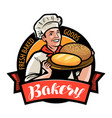 bakery bakehouse logo or label happy baker or vector image