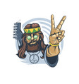 bearded hippie with a guitar behind his back vector image