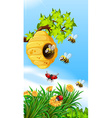 Bees and bugs flying around beehive vector image vector image