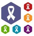 Breast cancer awareness ribbon icons set vector image vector image
