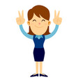 business woman doing two peace hand sign vector image vector image