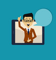 businessman inside smartphone showing thumb up vector image