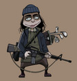 cartoon funny woman armed with a machine gun and vector image vector image