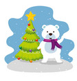 christmas pine tree with snow bear vector image vector image