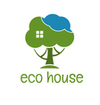 concept of funny eco tree house vector image