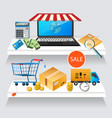 concept online shopping on laptop vector image vector image