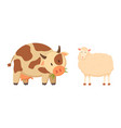 cow and sheep isolated cartoon style animal vector image vector image