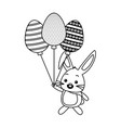 cute rabbit with balloons shaped eggs vector image vector image