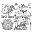 design set with ancient sailboat dragon vector image vector image