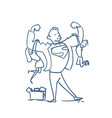 doodle strong father holding children son and vector image