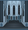 dramatic view inside church or basilica at night vector image vector image