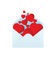 Envelope with filled hearts vector image vector image