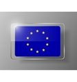 European Union Flag Glossy Button vector image