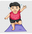 fat girl doing yoga on mat vector image vector image