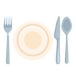 flat icon - fork knife spoon and plates vector image vector image