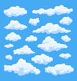 fluffy white cartoon clouds in blue sky set vector image vector image