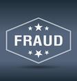 fraud hexagonal white vintage retro style label vector image vector image