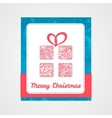 Gift box with abstract doodle pattern Christmas vector image vector image