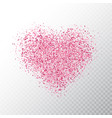 glitter pink heart isolated on transparent vector image vector image