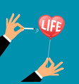 hand with cigarette busts life balloon vector image vector image
