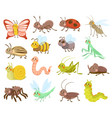 large set cute cartoon insects or bugs vector image