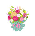 luxury bouquet with rose flowers in decor wrapping vector image