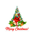 merry christmas tree decorations gifts icon vector image vector image