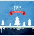 merry christmas winter snowy scene background vector image