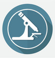 microscope icon on white circle with a long shadow vector image vector image