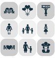 mothers day icon design concept set of 9 such vector image vector image