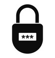 pin code padlock icon simple style vector image vector image