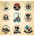 Pirate emblems vintage old paper set vector image