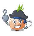 pirate raw onions in a cartoon box vector image vector image