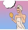 Pop Art Beautiful Woman Removing Makeup vector image vector image
