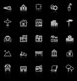 Real estate line icons with reflect on black vector image